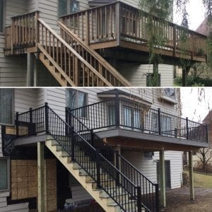 Before and after of a deck remodel project
